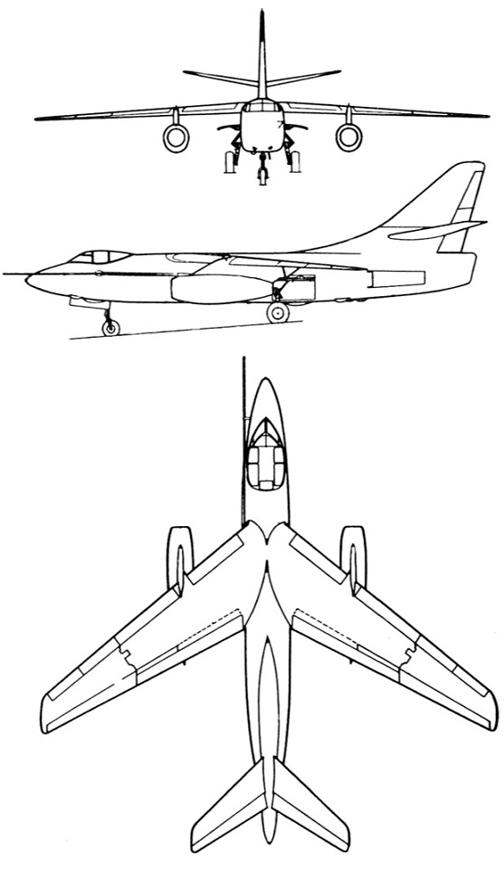 Plan 3 vues du Douglas KA-3 / EKA-3 Skywarrior