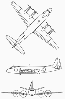 Plan 3 vues du Vickers VC2 Viscount