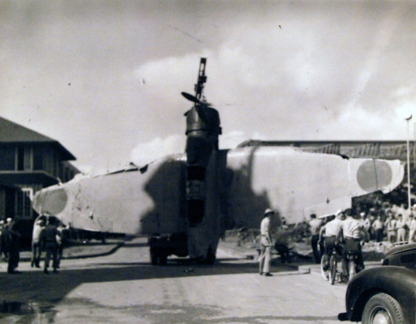 Les restes d'un Nakajima B5N abattu par la DCA américaine à Pearl Harbor.