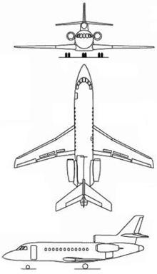 Plan 3 vues du Dassault Aviation Falcon 900