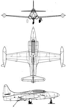 Plan 3 vues du Lockheed T2V / T-1A Seastar