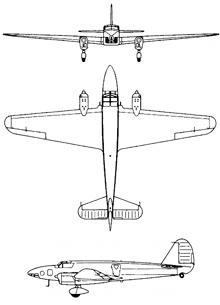 Plan 3 vues du Caproni Bergamaschi Ca.309 Ghibli