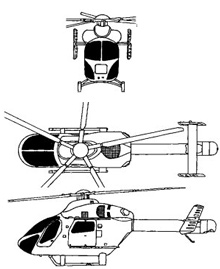 Plan 3 vues du MD Helicopter MD-900 Explorer