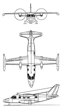Plan 3 vues du Mitsubishi MU-2 / LR-1