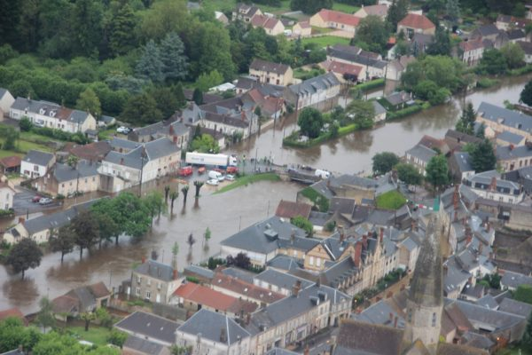 Une commune du Loiret au 1er juin 2016, sous les eaux.