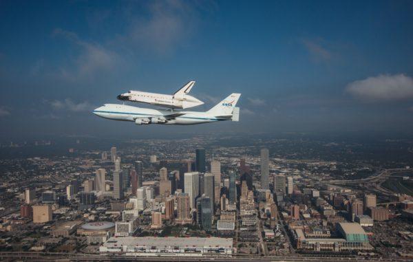 En vol au-dessus de Houston au Texas.
