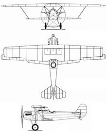 Plan 3 vues du Fokker D.XI
