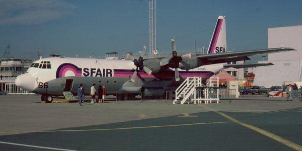 Lockheed L-100 aux couleurs de la compagnie Sfair, immatriculé en France.