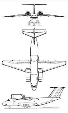 Plan 3 vues du Antonov An-72 / An-74 'Coaler'