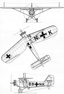 Plan 3 vues du Heinkel He 46
