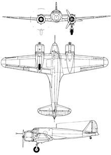 Plan 3 vues du Piaggio P.111