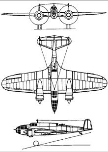 Plan 3 vues du P.Z.L. P.37 Łoś