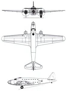 Plan 3 vues du Savoia-Marchetti SM.82 Canguru