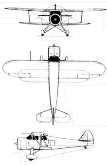 Plan 3 vues du Waco UC-72 / J2W