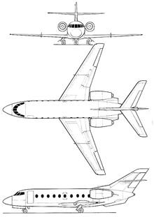 Plan 3 vues du Dassault Falcon 30