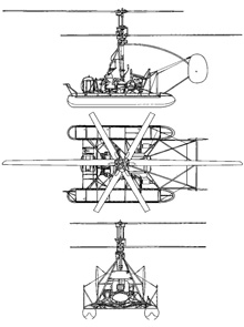 Plan 3 vues du Kamov Ka-10 'Hat'
