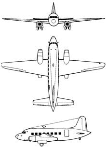 Plan 3 vues du Vickers Viking / Valetta / Varsity