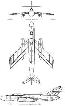 Plan 3 vues du Yakovlev Yak-27 'Mangrove'