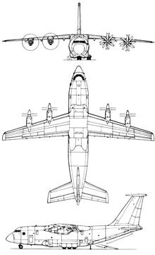 Plan 3 vues du Antonov An-70