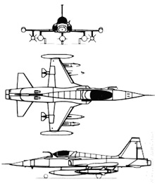 Plan 3 vues du Northrop F-5 Freedom Fighter
