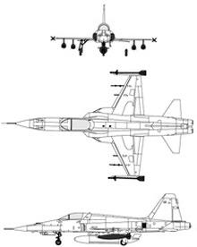 Plan 3 vues du Northrop F-5E/F Tiger II