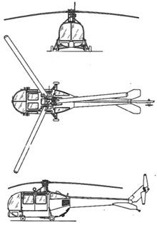 Plan 3 vues du Sikorsky HO5S