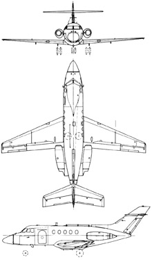 Plan 3 vues du Hawker-Siddeley HS-125 Dominie
