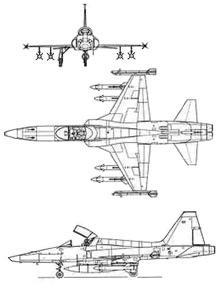 Plan 3 vues du Northrop RF-5 Tigereye