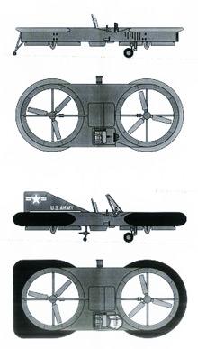 Plan 3 vues du Piasecki VZ-8 Airgeep