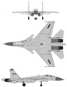 Plan 3 vues du Shenyang J-15 'Flanker-D+'
