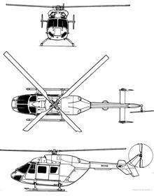 Plan 3 vues du M.B.B. / Kawasaki BK 117