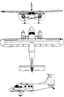 Plan 3 vues du Dornier Do 28 Skyservant