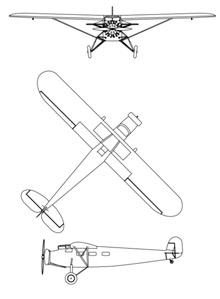 Plan 3 vues du Fairchild Canada FC-82