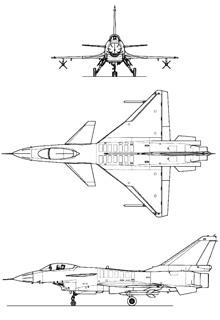 Plan 3 vues du Chengdu J-10 'Firebird'