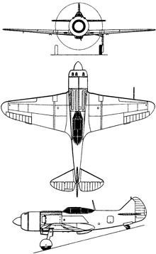 Plan 3 vues du Lavotchkin La-7 'Fin'
