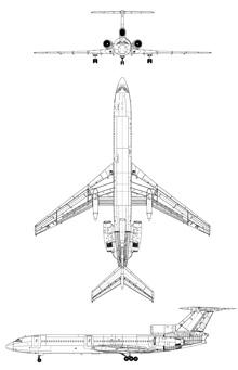 Plan 3 vues du Tupolev Tu-154 'Careless'