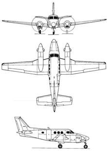 Plan 3 vues du Beechcraft U-21 Ute / T-44 Pegasus