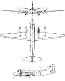 Plan 3 vues du De Havilland DH.114 Heron