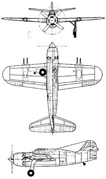 Plan 3 vues du Brewster XA-32