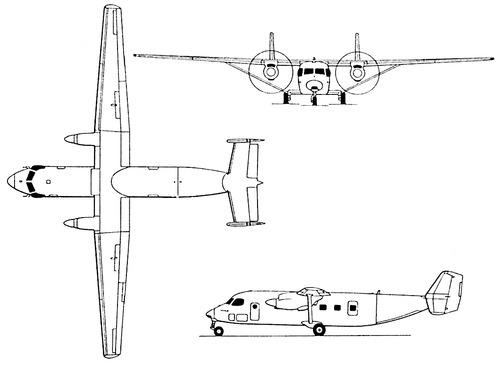 Plan 3 vues du Antonov An-28 / An-38 'Cash'