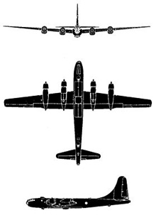 Plan 3 vues du Boeing B-50 / RB-50 Superfortress