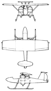 Plan 3 vues du Bell Model 65 ATV