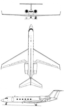 Plan 3 vues du Gulfstream Aerospace VC-11 / C-20 / C-37