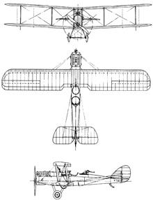 Plan 3 vues du Airco D.H.9