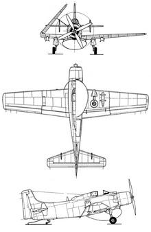 Plan 3 vues du Douglas EA-1 Skyraider