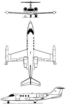 Plan 3 vues du Bombardier Learjet 35 (C-21)