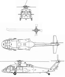 Plan 3 vues du Sikorsky MH-60 Jayhawk