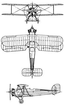 Plan 3 vues du Hawker Tomtit