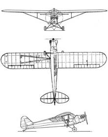 Plan 3 vues du Piper AE-1 / HE-1