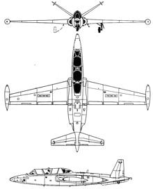 Plan 3 vues du Fouga CM.175 Zéphyr
